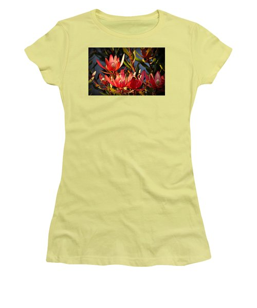Women's T-Shirt (Athletic Fit) featuring the photograph Flowers At Sunset by AJ Schibig