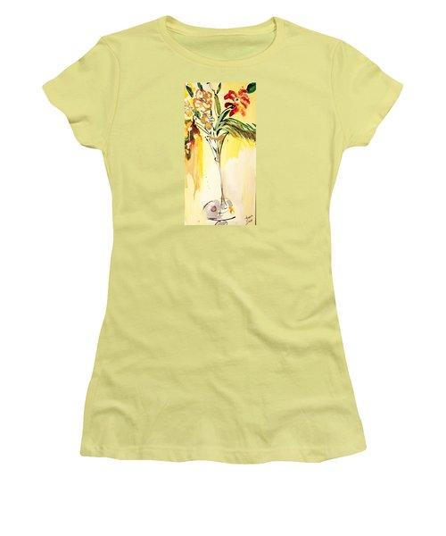 Flowers Flowing In Yellow Women's T-Shirt (Junior Cut) by Amara Dacer