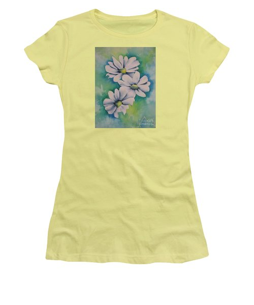 Women's T-Shirt (Junior Cut) featuring the painting Flowers For You by Chrisann Ellis