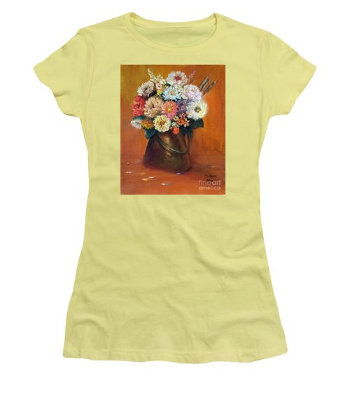 Women's T-Shirt (Athletic Fit) featuring the painting Flowers In A Metal Vase  by Marlene Book