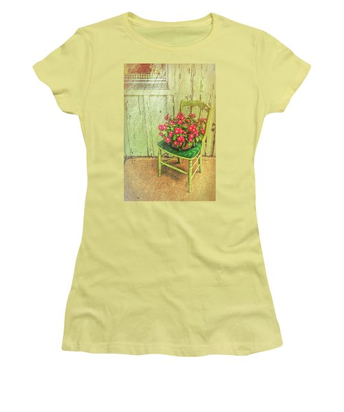 Women's T-Shirt (Athletic Fit) featuring the photograph Flowers On Green Chair by Lewis Mann
