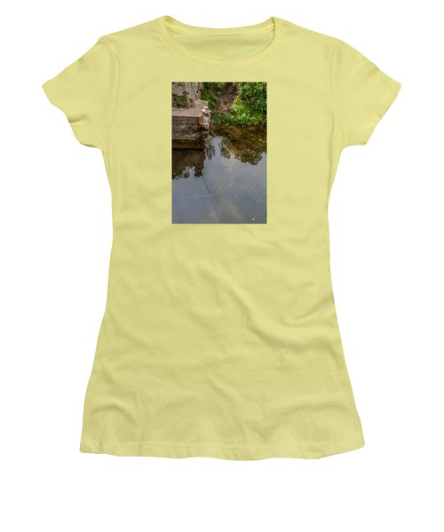 Fly Fisher Gal Women's T-Shirt (Junior Cut) by Dan Traun