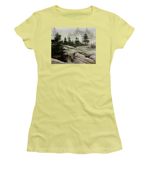 Women's T-Shirt (Junior Cut) featuring the painting Fog At The Coast by James Williamson
