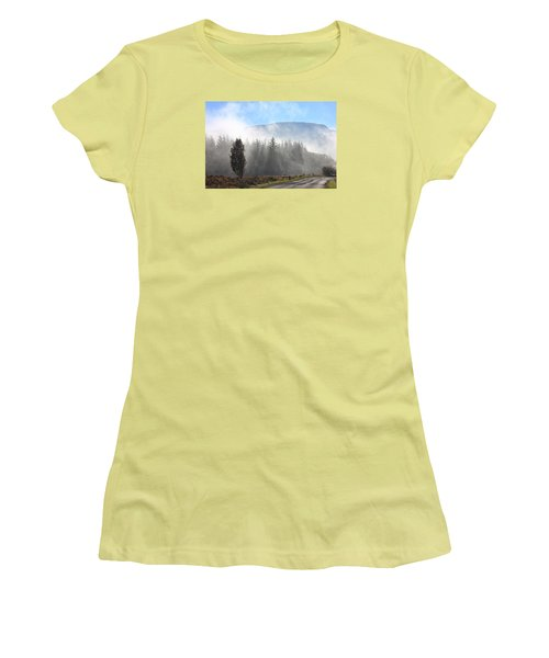 Fog On The Road To Fintry Women's T-Shirt (Junior Cut) by RKAB Works