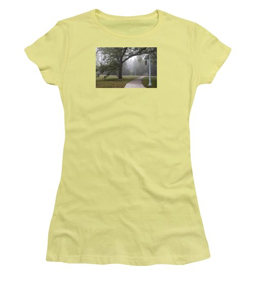 Foggy Campus  Women's T-Shirt (Junior Cut) by John McGraw