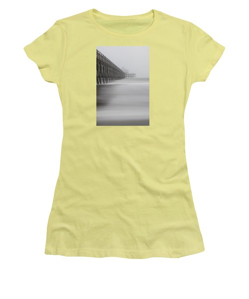 Foggy Folly Beach Pier Women's T-Shirt (Junior Cut) by John McGraw