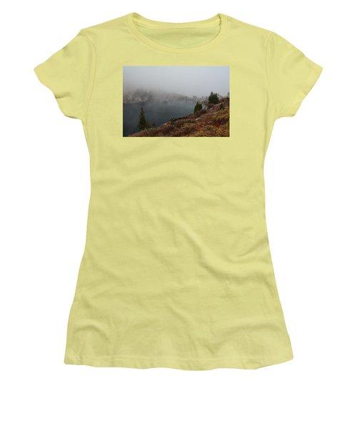 Foggy Liberty Lake Women's T-Shirt (Junior Cut) by Jenessa Rahn