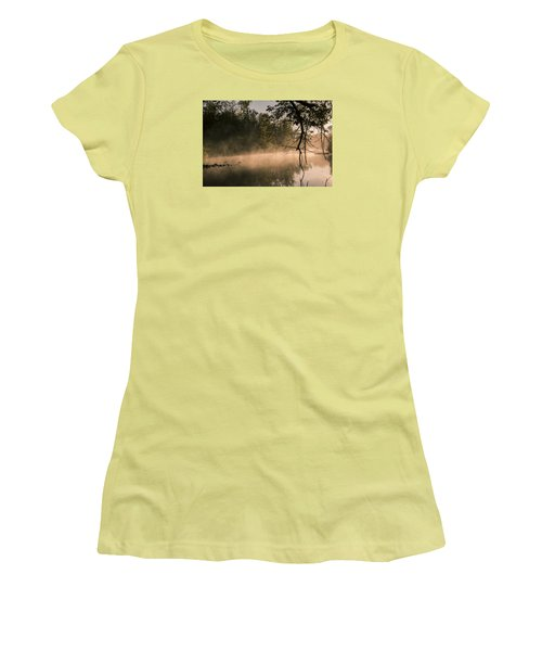 Women's T-Shirt (Junior Cut) featuring the photograph Foggy Water by Annette Berglund