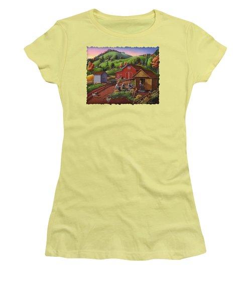 Folk Art Americana - Farmers Shucking Harvesting Corn Farm Landscape - Autumn Rural Country Harvest  Women's T-Shirt (Junior Cut) by Walt Curlee
