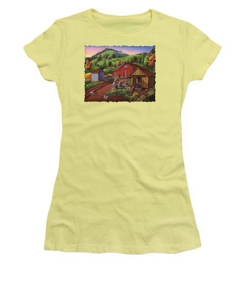 Folk Art Americana - Farmers Shucking Harvesting Corn Farm Landscape - Autumn Rural Country Harvest  Women's T-Shirt (Athletic Fit)