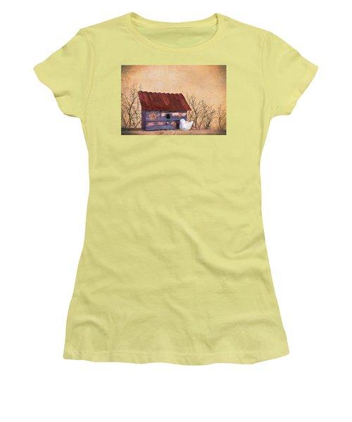 Women's T-Shirt (Junior Cut) featuring the photograph Folk Art Birdhouse Still Life by Tom Mc Nemar