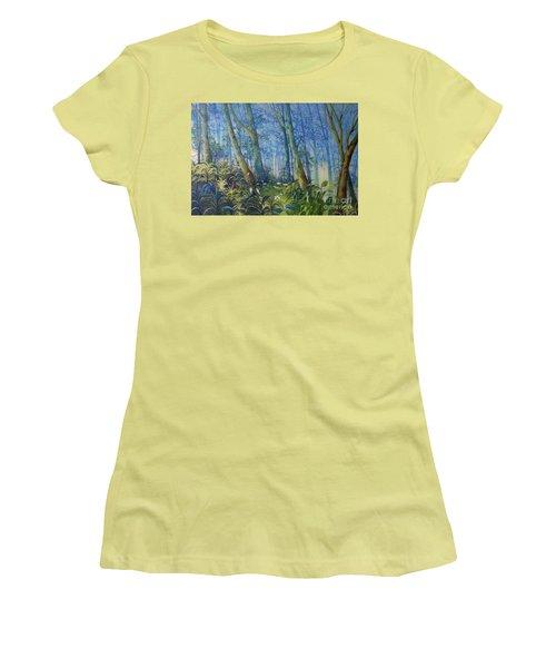 Follow Me Oil Painting Of A Magic Forest Women's T-Shirt (Junior Cut) by Maja Sokolowska
