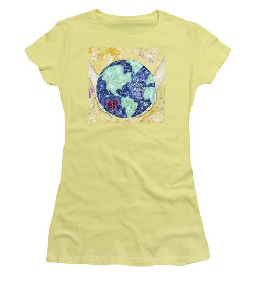 For He So Loved The World Women's T-Shirt (Junior Cut) by Kirsten Reed
