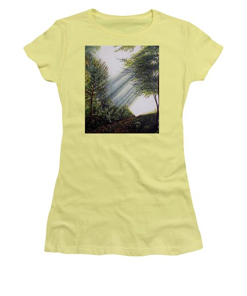 Women's T-Shirt (Junior Cut) featuring the painting Forest Pathway by Judy Kirouac
