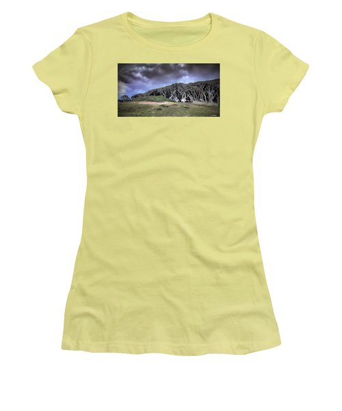 Women's T-Shirt (Junior Cut) featuring the photograph Fort Fisher Stormy Sunset by Phil Mancuso