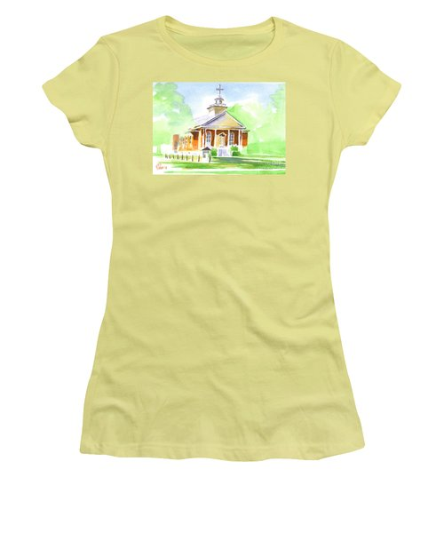 Women's T-Shirt (Junior Cut) featuring the painting Fort Hill Methodist Church 2 by Kip DeVore