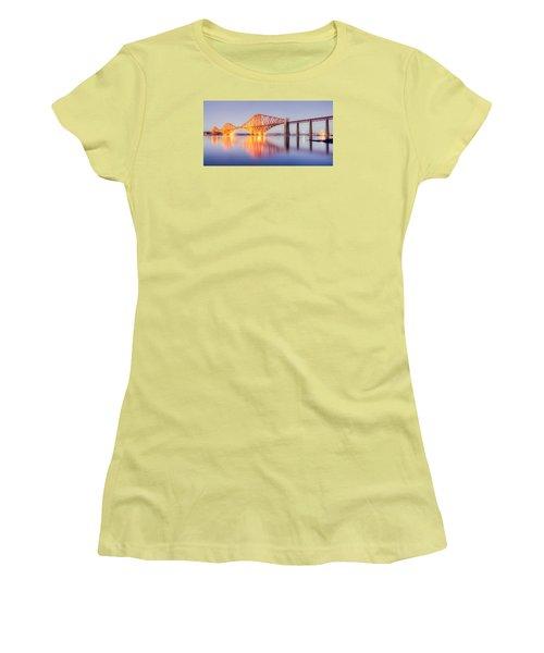 Forth Bridge Sunset Women's T-Shirt (Junior Cut) by Ray Devlin
