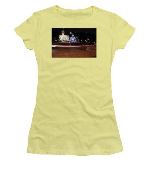 Fountaine De Tourny And Quebec Parliament Women's T-Shirt (Junior Cut) by John Schneider