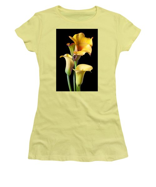 Four Calla Lilies Women's T-Shirt (Junior Cut) by Garry Gay