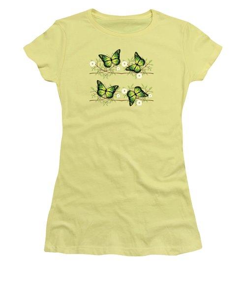 Four Green Butterflies Women's T-Shirt (Athletic Fit)