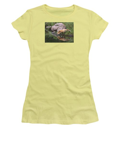 Women's T-Shirt (Junior Cut) featuring the photograph Foxy Reflection by Myrna Bradshaw