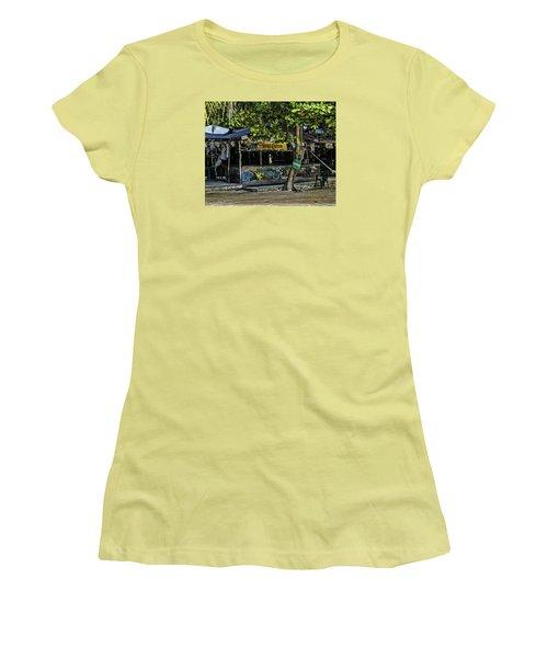 Foxy's On Jost Van Dyke Women's T-Shirt (Junior Cut) by Gordon Engebretson