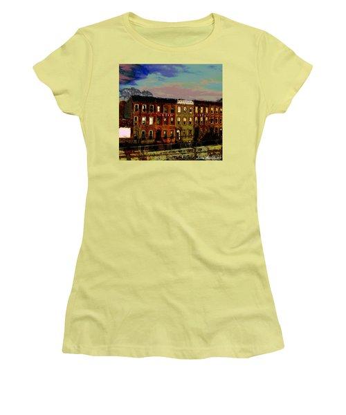 Women's T-Shirt (Junior Cut) featuring the photograph Franklin Ave. Bk by Iowan Stone-Flowers