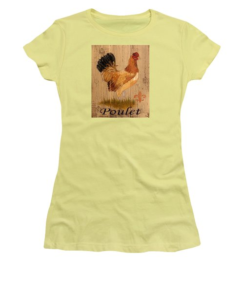 French Country Shabby Cottage Poulet Hen Women's T-Shirt (Junior Cut) by Cindy Micklos