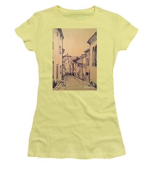 Women's T-Shirt (Junior Cut) featuring the drawing French Little Town Drawing by Maja Sokolowska