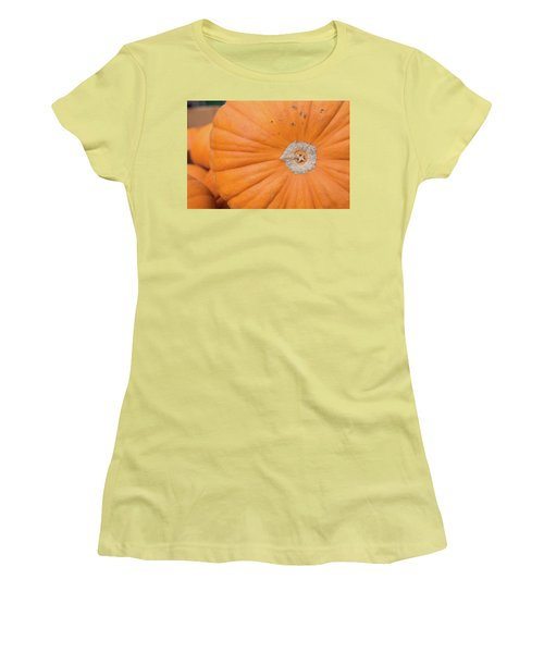 Women's T-Shirt (Junior Cut) featuring the photograph Fresh Organic Orange Giant Pumking Harvesting From Farm At Farme by Jingjits Photography