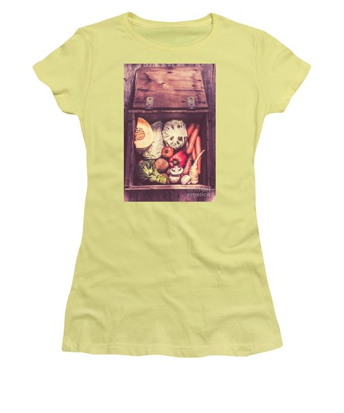 Fresh Vegetables In Wooden Box Women's T-Shirt (Athletic Fit)