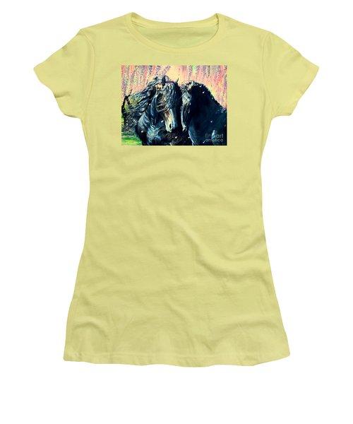 A Friesian Romance Women's T-Shirt (Junior Cut) by Ruanna Sion Shadd a'Dann'l Yoder