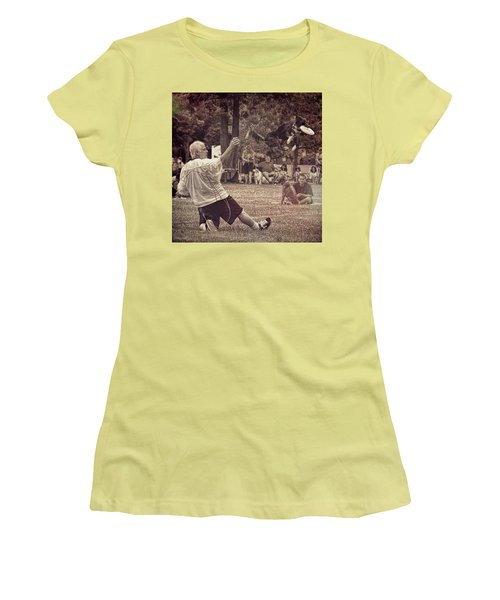 Women's T-Shirt (Athletic Fit) featuring the photograph Frisbee Catcher by Lewis Mann
