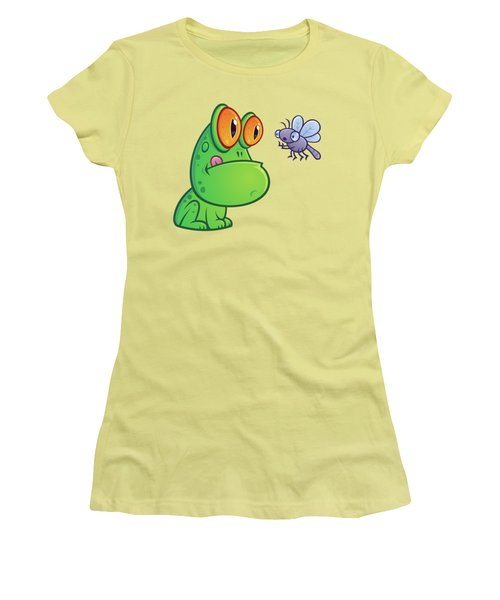 Frog And Dragonfly Women's T-Shirt (Junior Cut) by John Schwegel