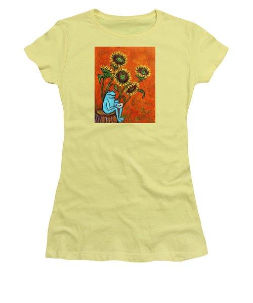 Frog I Padding Amongst Sunflowers Women's T-Shirt (Junior Cut) by Xueling Zou