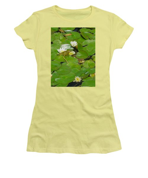 Frog With Water Lilies Women's T-Shirt (Junior Cut) by Mark Barclay