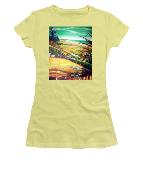 Women's T-Shirt (Junior Cut) featuring the painting From The Lawn Pandanus by Winsome Gunning