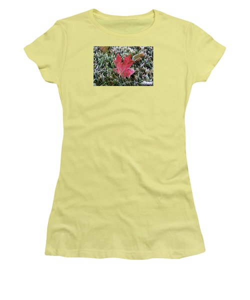 Frosted Maple Leaf  Women's T-Shirt (Junior Cut) by Yumi Johnson