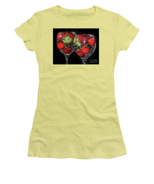 Women's T-Shirt (Junior Cut) featuring the photograph Fruits In Glass by Elvira Ladocki