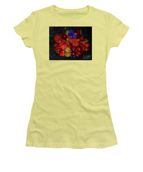 Women's T-Shirt (Junior Cut) featuring the photograph Fruits With Flower by Elvira Ladocki