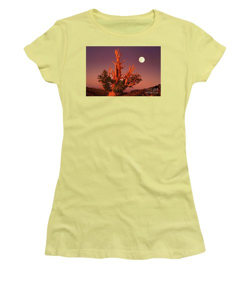 Women's T-Shirt (Junior Cut) featuring the photograph Full Moon Behind Ancient Bristlecone Pine White Mountains California by Dave Welling