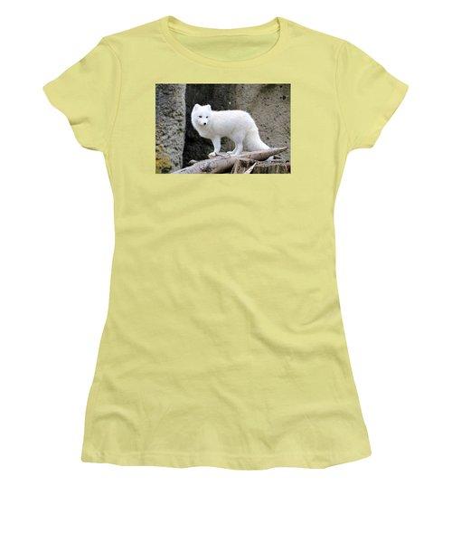 Furry Arctic Fox  Women's T-Shirt (Junior Cut) by Athena Mckinzie