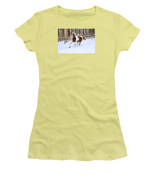 Galloping In The Snow Women's T-Shirt (Junior Cut) by Elizabeth Dow