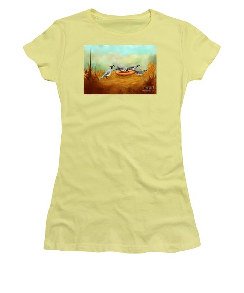 Women's T-Shirt (Junior Cut) featuring the painting Gambel's Quail On Parade by Judy Filarecki