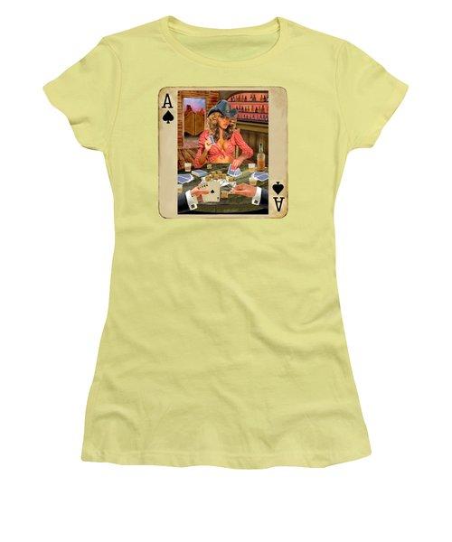 Gamblin' Cowgirl Women's T-Shirt (Junior Cut) by Glenn Holbrook