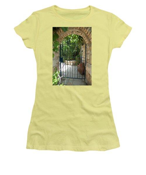 Women's T-Shirt (Junior Cut) featuring the photograph Garden Door Entrance by Yoel Koskas