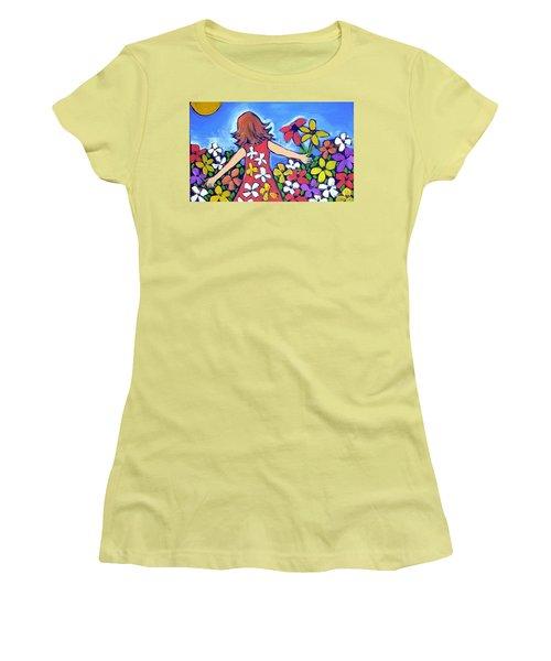 Women's T-Shirt (Junior Cut) featuring the painting Garden Of Joy by Winsome Gunning