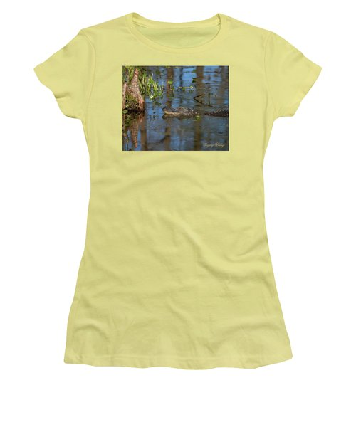 Women's T-Shirt (Junior Cut) featuring the photograph Gator In Cypress Lake 3 by Gregory Daley  PPSA