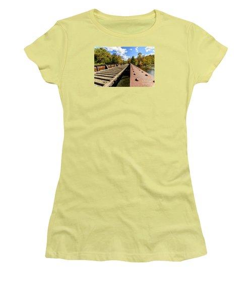 Gauley River Railroad Trestle Women's T-Shirt (Junior Cut) by Thomas R Fletcher