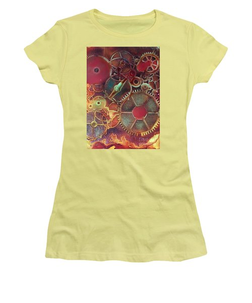 Women's T-Shirt (Junior Cut) featuring the painting Gear Works by Suzanne Canner